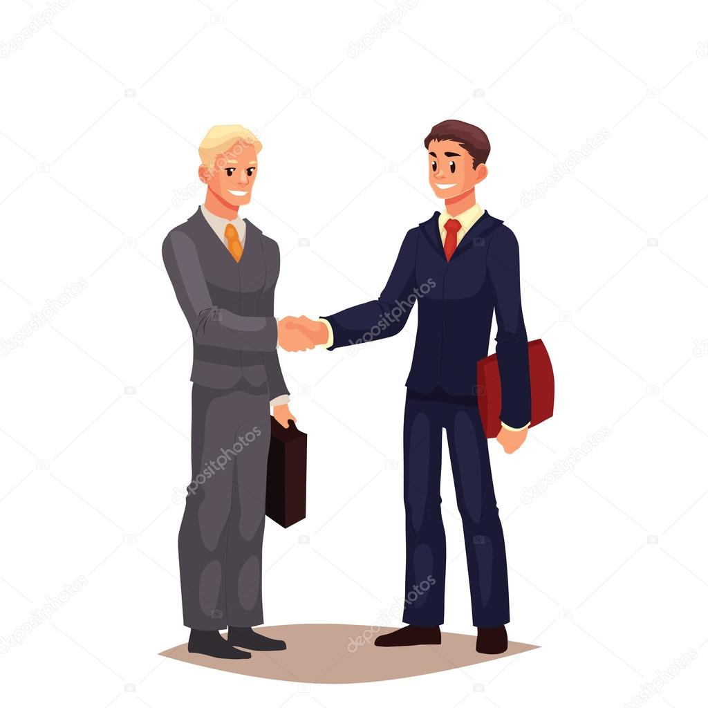 deux hommes d affaires en costume se serrant la main image vectorielle sabelskaya 119483668. Black Bedroom Furniture Sets. Home Design Ideas
