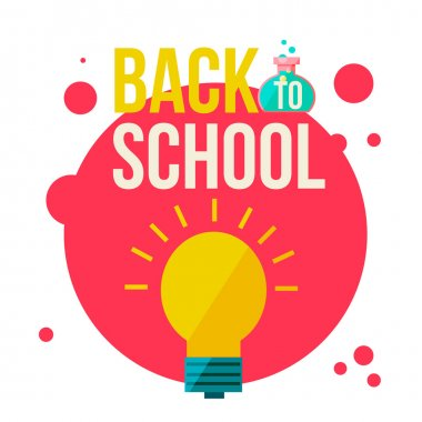 Back to school poster with shining light bulb