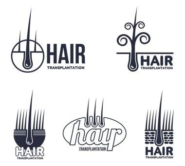 Set of hair transplantation logo templates
