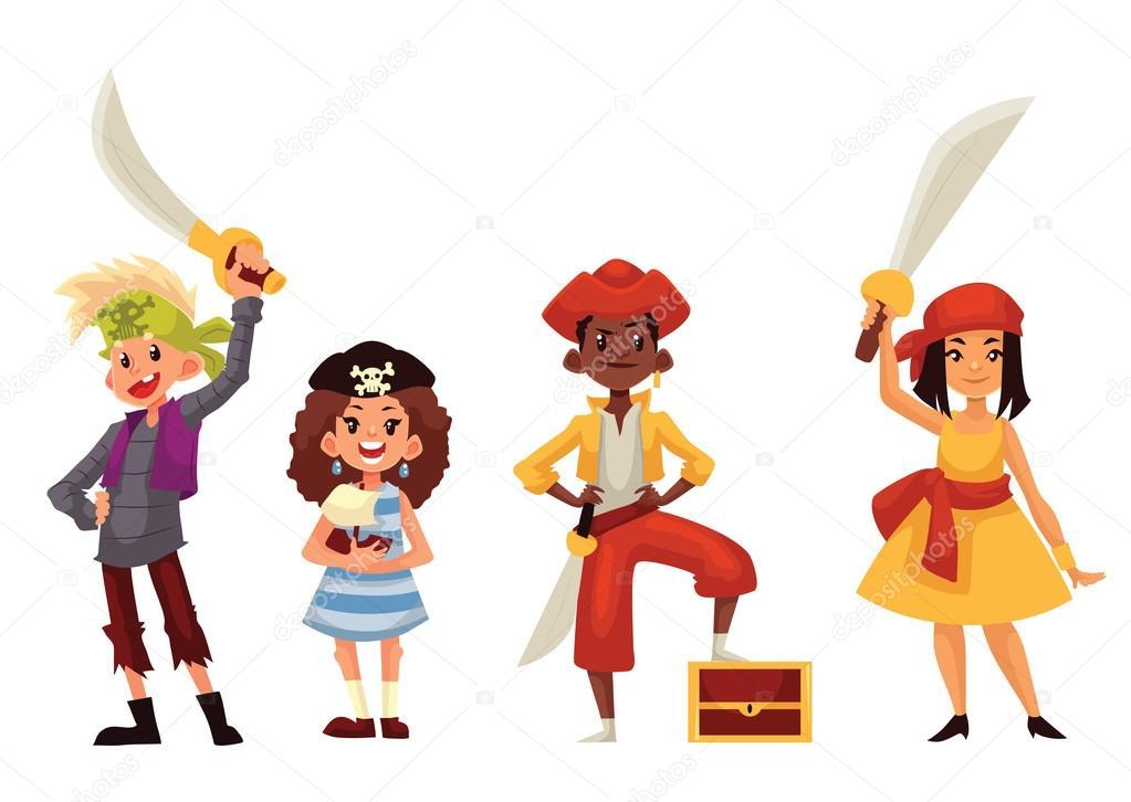 Enfants en costumes de pirate avec des p es et coffre au - Dessin costume ...