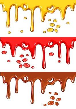 Set of chocolate, honey, and strawberry drips