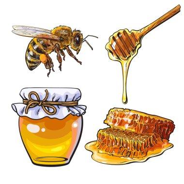 "Картина, постер, плакат, фотообои ""Джар меда, пчелы, ковш и соты на белом фоне"", артикул 122705302"