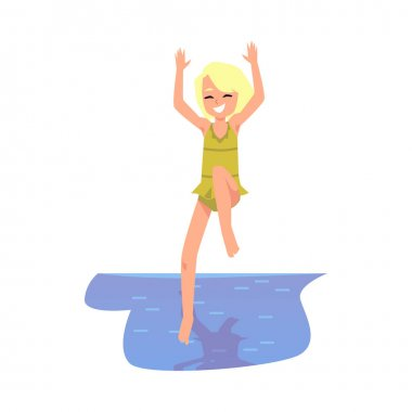 Cute happy little girl jumping into water, flat vector illustration isolated.