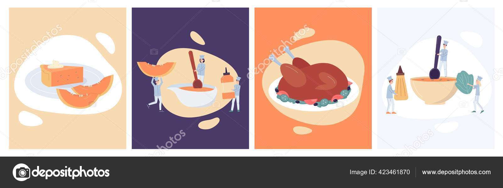 Repas d'automne pour Thanksgiving ou Halloween fête plat vectoriel  illustrations ensemble. 40