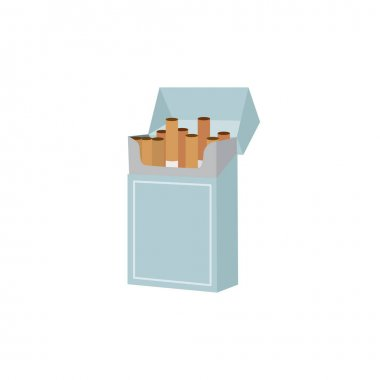 Icon of open pack full of cigarettes with filter, blank box for advertising of tobacco. Concept of addiction from nicotine, unhealthy habits. Flat vector isolated illustration icon