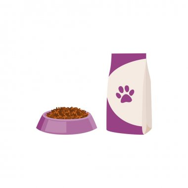 Packaging of food and bowl full of feed for dog or cat. Paper or foil bag, doypack with healthy animal pet nutrition. Flat cartoon vector illustration isolated on white background. icon