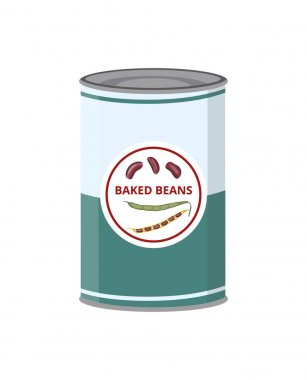 Baked kidney beans canned in tin can. Healthy natural tinned vegetables food for vegetarian or vegan. Flat vector illustration isolated on white background. icon