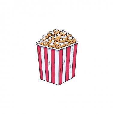 Carton icon of popcorn in a striped tub box, hand drawn sketch vector illustration isolated on white background. Movie theater pop corn treat in paper basket. icon