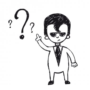 Business man on a question mark