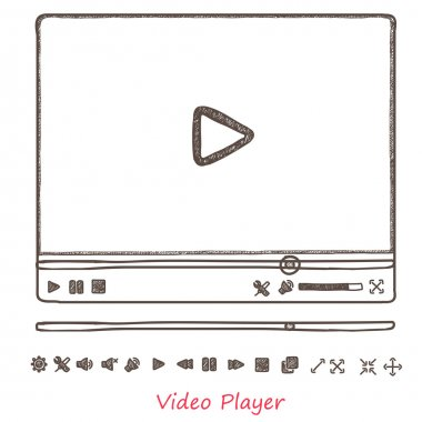 Vector illustration hand draw sketch doodle video player for web clip art vector