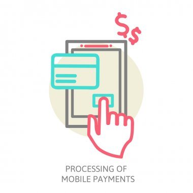 line design  illustration in  modern stylish processing of mobile payments