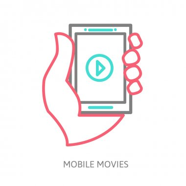 tablet on the hand with video player