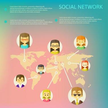 Social Media Circles, Network Illustration, Vector