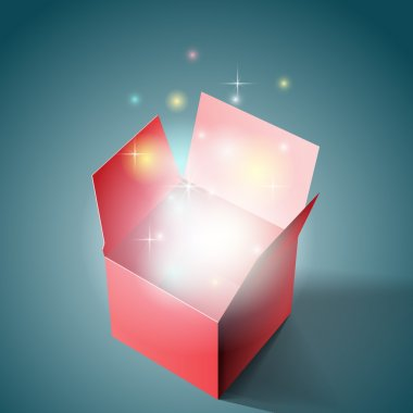 Open gift box with light