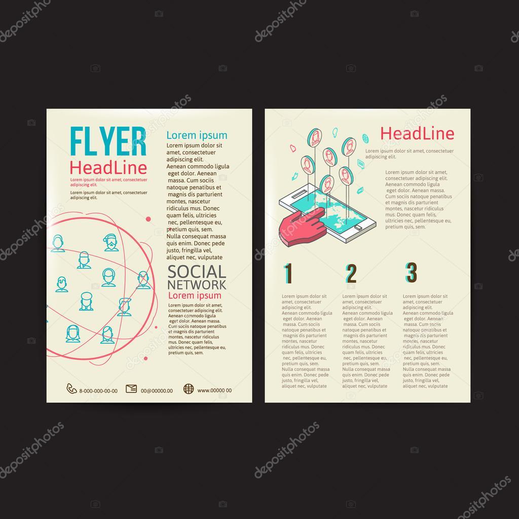 Abstrakt-Broschüre Flyer-Design-Vektor-Vorlage. soziale Netzwerke ...