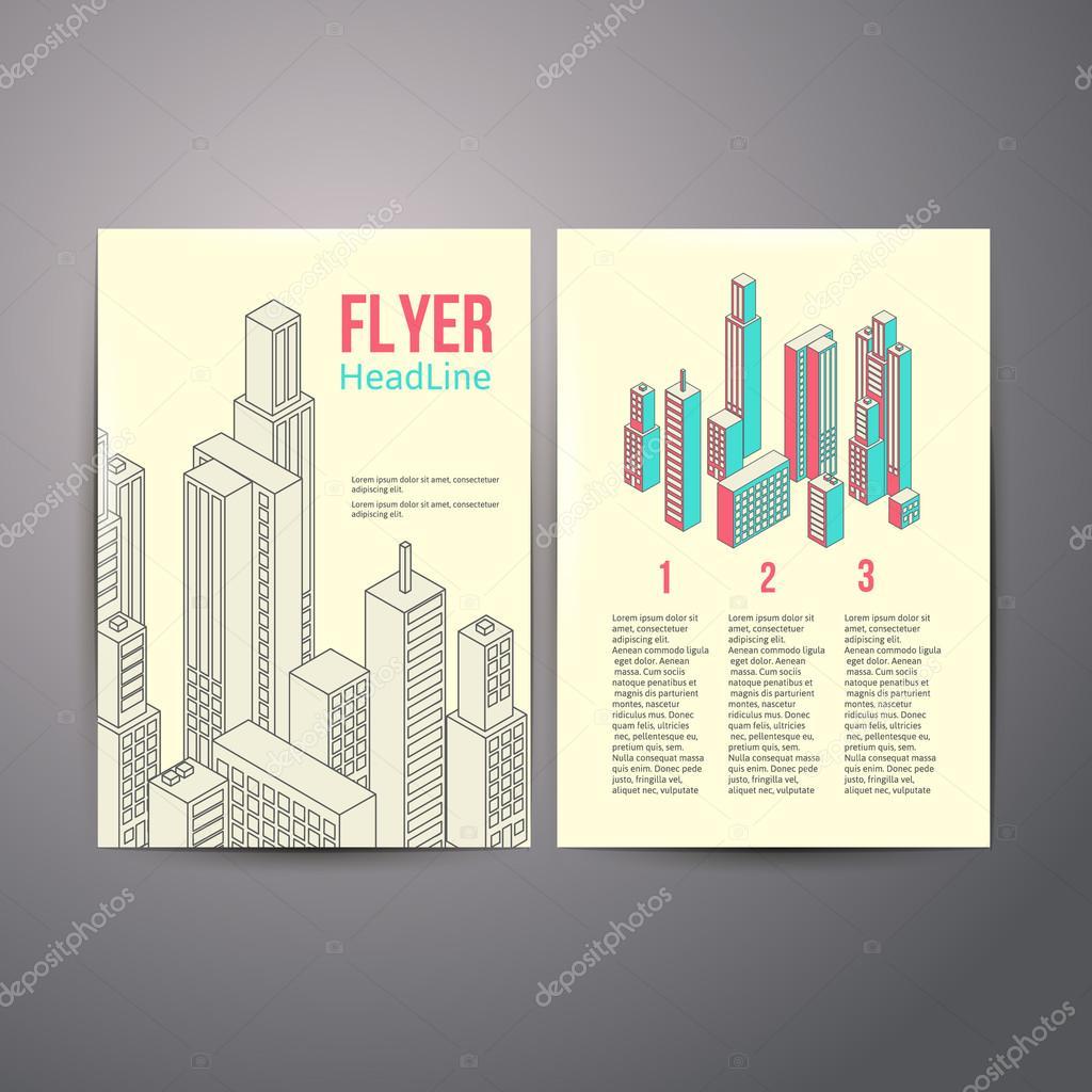 Abstrakt-Broschüre-Flyer-Design über hous — Stockvektor © Sabelskaya ...