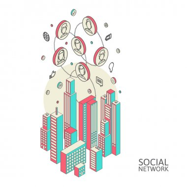 Conceptual image with social networks. Flat  isometric