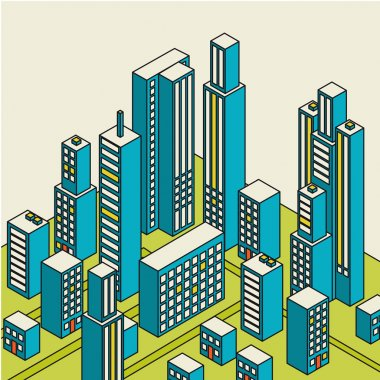Vector isometric city center on the map with lots of buildings