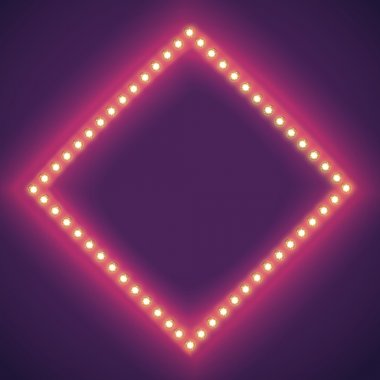 Retro frame with glowing lights with space for text