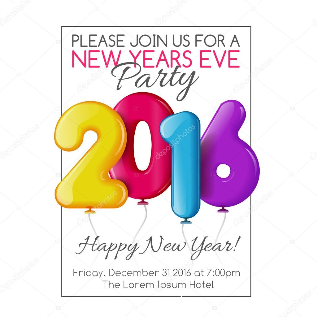 Invitation to new year party with color balloons vetor de stock invitation to new year party with color balloons vetor de stock stopboris Choice Image