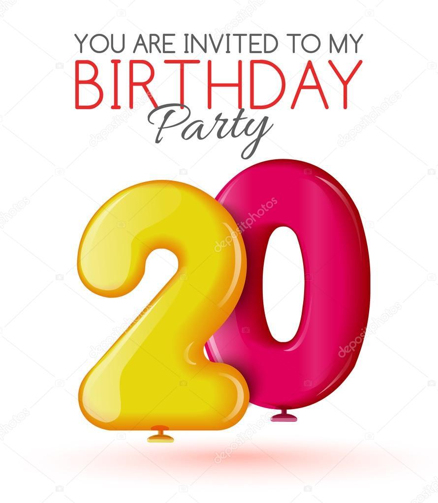 Tarjeta De Invitación Para La Celebración De 20 Años