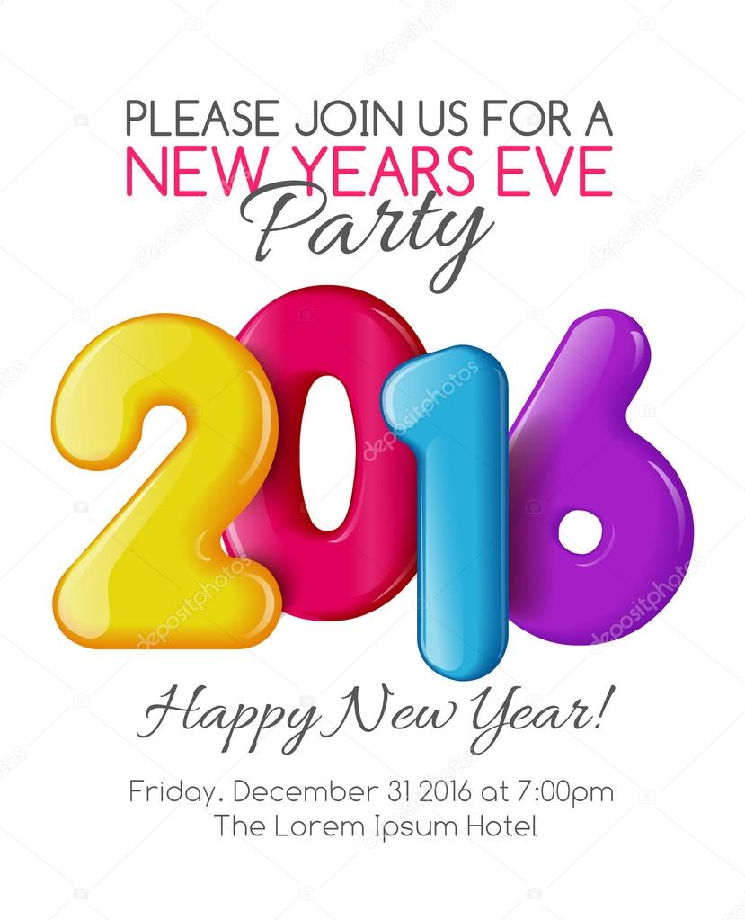 Invitation to new year party with color numbers vetores de stock invitation to the party of the year holiday card dedicated to the christmas and new year 2016 3d numbers yellow red blue and purple colors stopboris Gallery