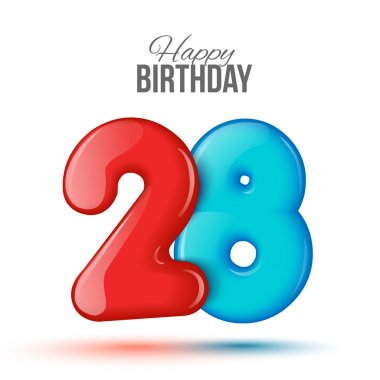 birthday. 3d greeting card with numbers 28, twenty eight .