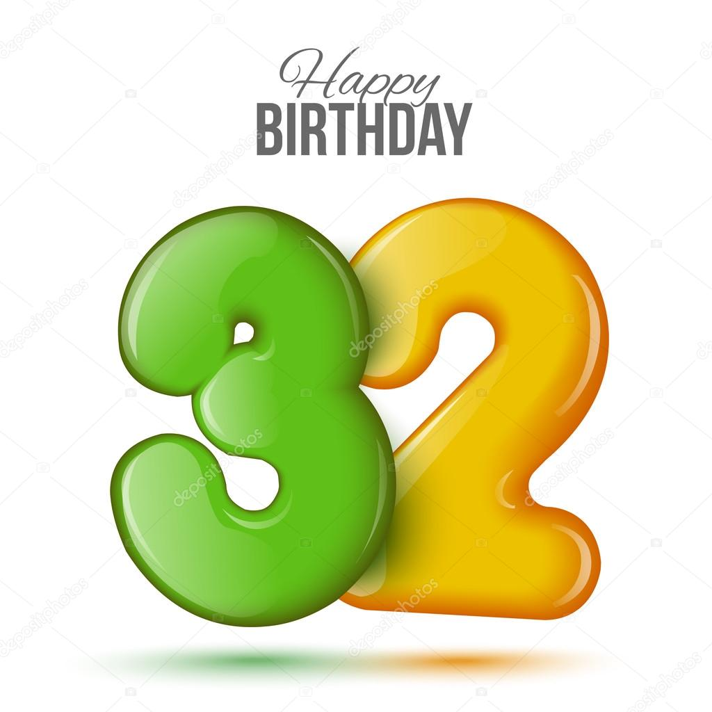 birthday greeting card with numbers 32 thirty two ストック
