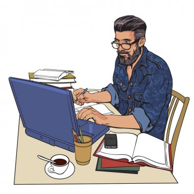 hipster man in a jeans jacket at work. A large number of documents