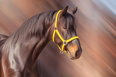 Drawing of a horse, portrait, on a color  background, Hand-drawn