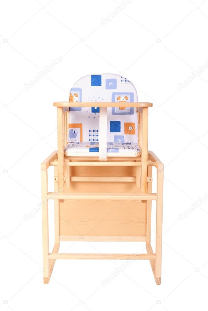 Wooden High Chair For Baby Feeding Isolated On White Photo By Sssss1gmel