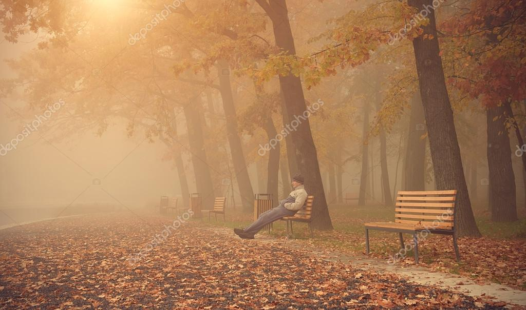 Man sit on bench in the park a foggy day