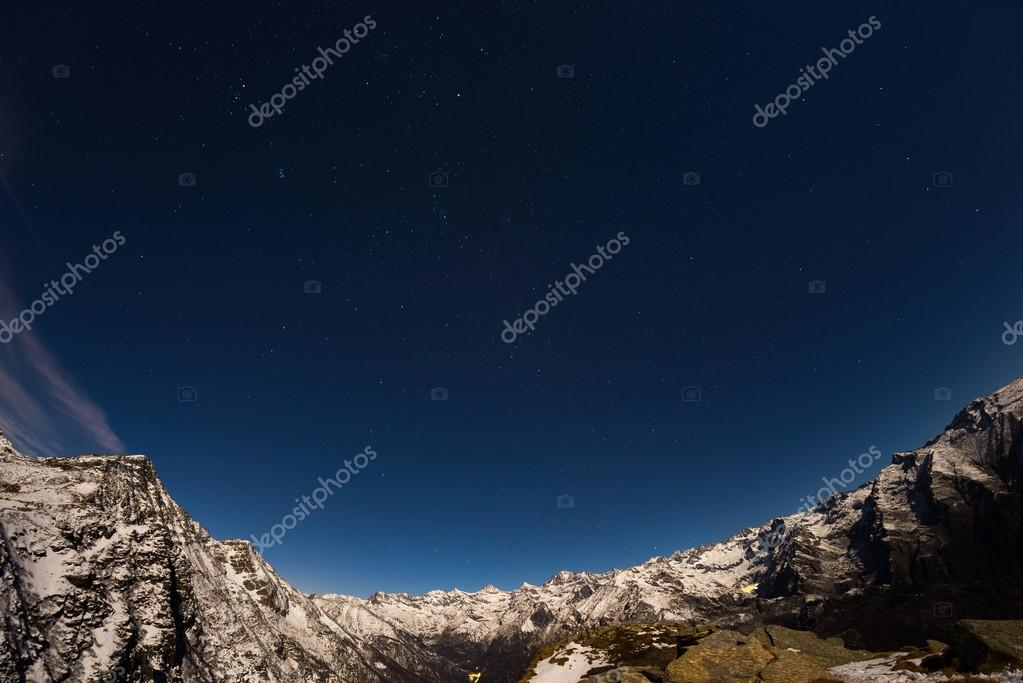 The starry sky above the Alps, 180 degree fisheye view