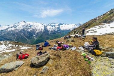 Group of hikers exploring the Alps, outdoor activities in summer