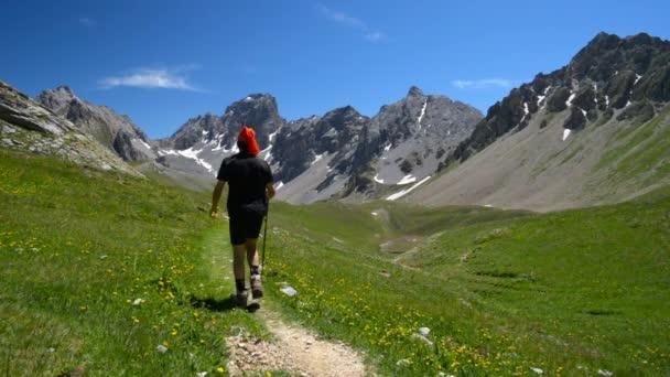 Batohem, turistika v idylické krajině. Letní dobrodružství a průzkum v Alpách, přes kvetoucí zelené louce uprostřed vysoké nadmořské výšce skalnaté horské pásmo