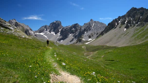 Backpacker hiking in idyllic landscape. Summer adventures and exploration on the Alps, through blooming green meadow set amid high altitude rocky mountain range.