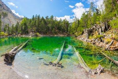 High altitude blue alpine lake in summertime
