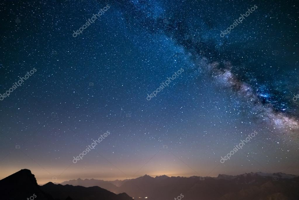 Glowing Milky Way and starry sky from the Alps