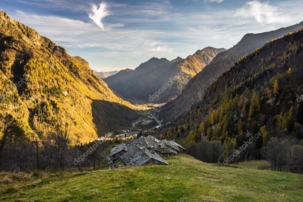 Alpine valley at sunset