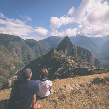 Tourism in Machu Picchu, Peru, toned image