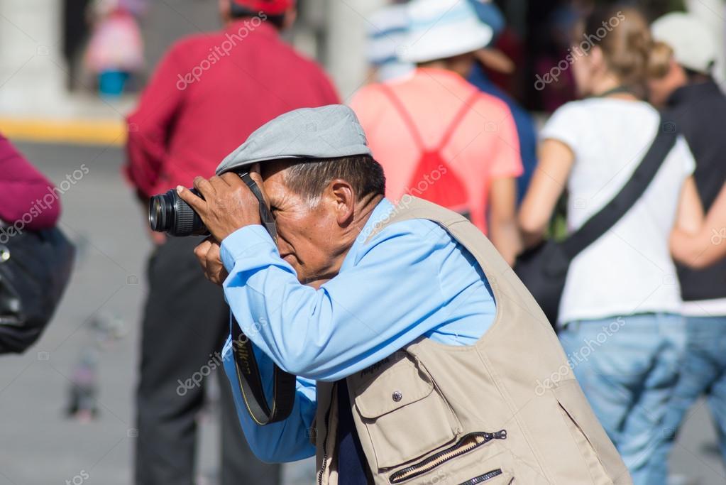 Professional street photographer in Arequipa, Peru