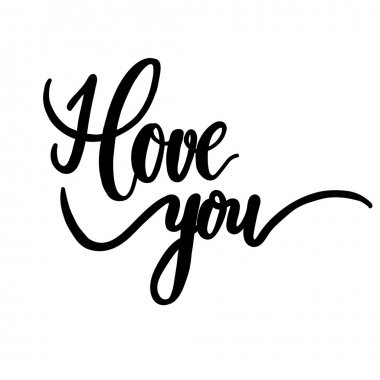 I love you, hand lettering vector. Modern calligraphy pen and in
