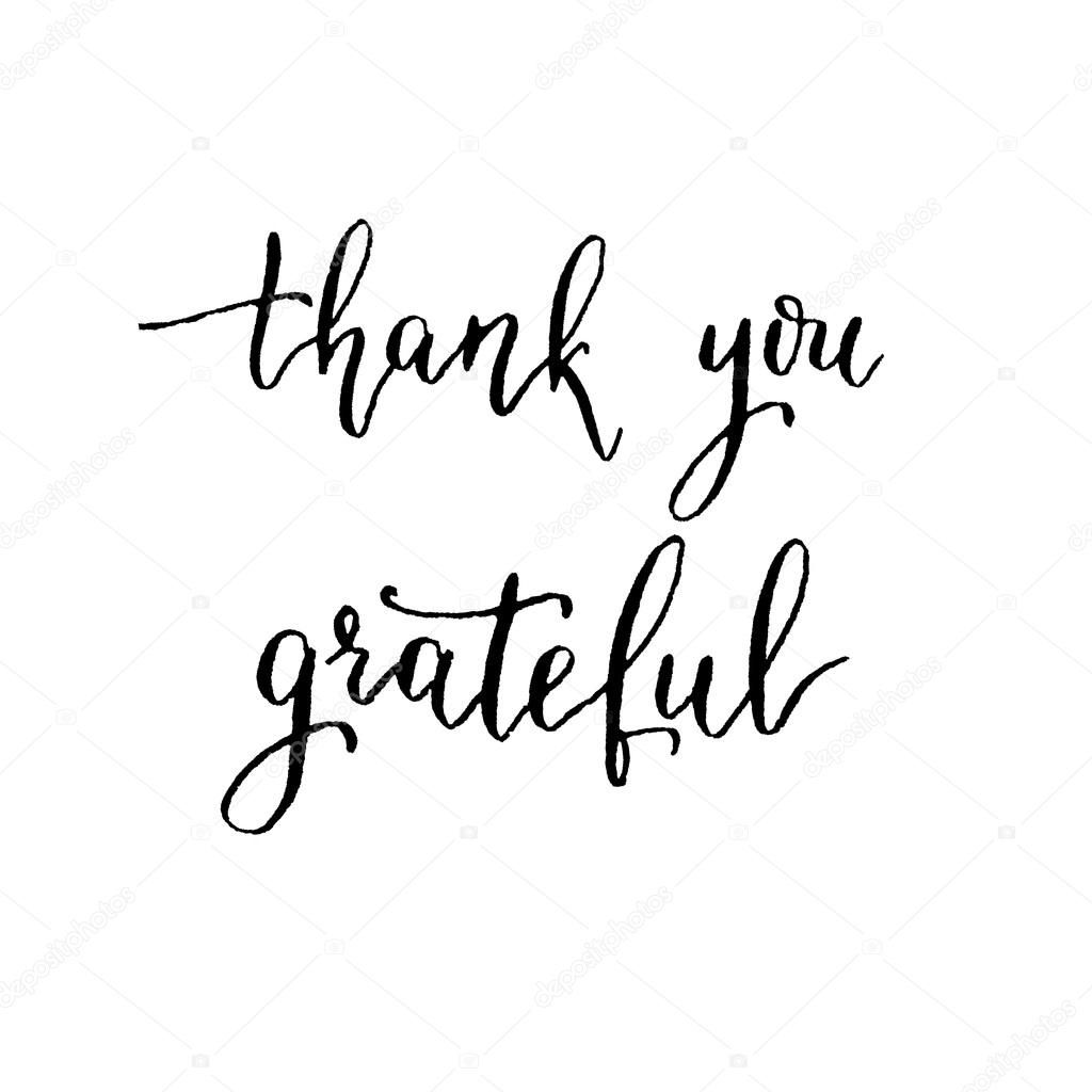 Thank you grateful hand lettering vector modern