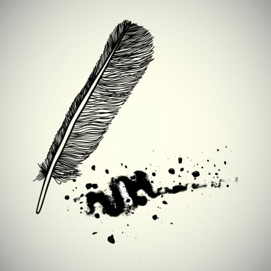 bird feather with ink splashes