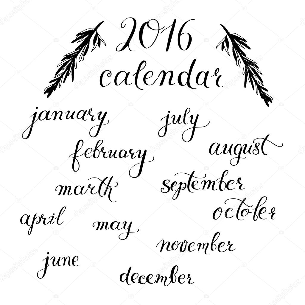 Calendar months calligraphy manual lettering vector