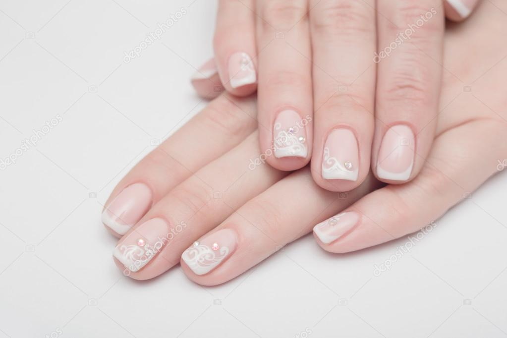 Nagel Weiss Natural Nagel Weiblich Finger Isoliert Pflege
