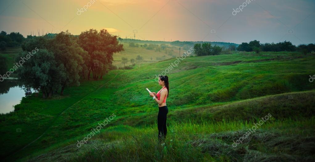 Background Phone Girl Nature Mobile Stock Photo C Volniy 124190658