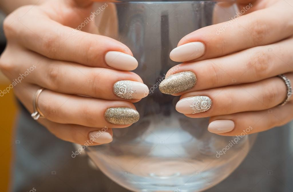 Manicure Szkła Paznokcie Czerwony Wody Kobieta Uroda Paznokci