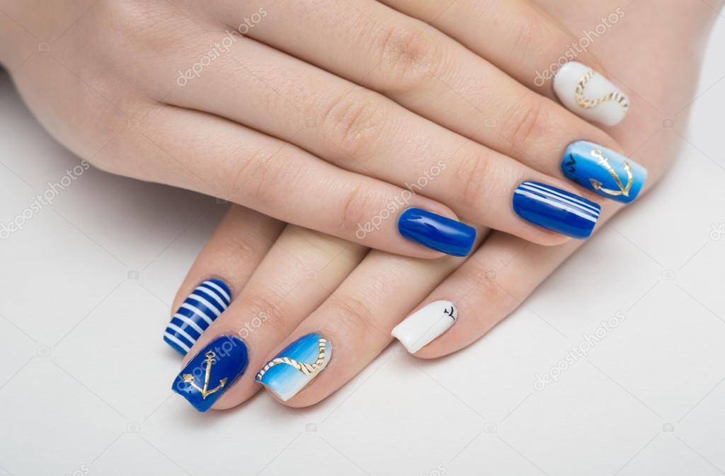nails, manicure, blue, nail, french, white, art, female, beauty ...