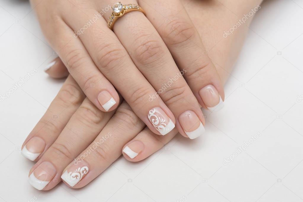 uñas, manicura, belleza, uñas, francesa, blanco, Fondo, mujer ...
